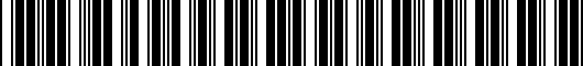Barcode for PT9240810040